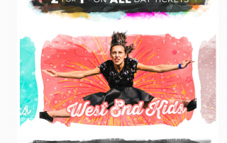 A screenshot of the Geronimo Festival website showing a photo of the West End Kids act on the slider