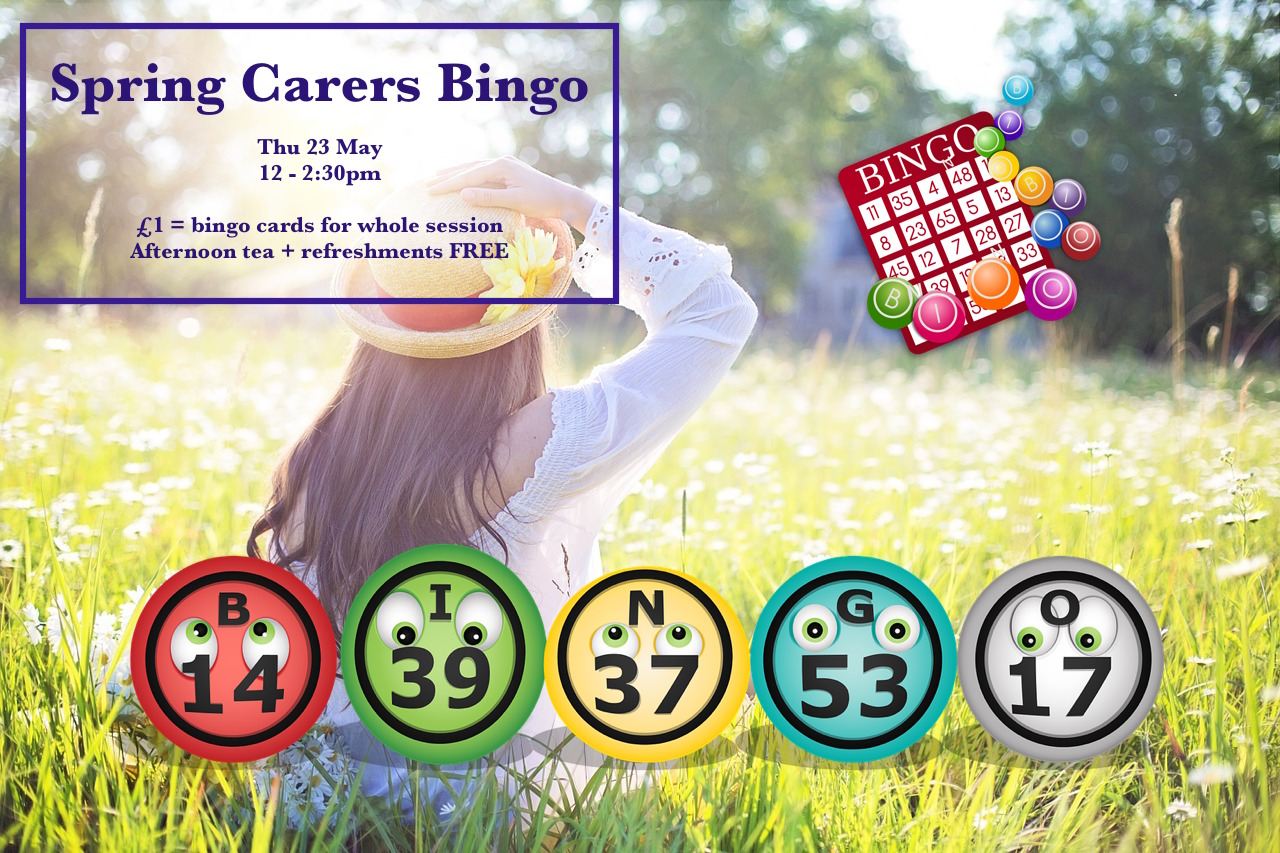 Poster for Lifted's Carers' Spring Bingo and Thursday Social 2019 | background image: woman wearing a hat, sat on a field; foreground images: bingo balls and card | original images from pixabay.com