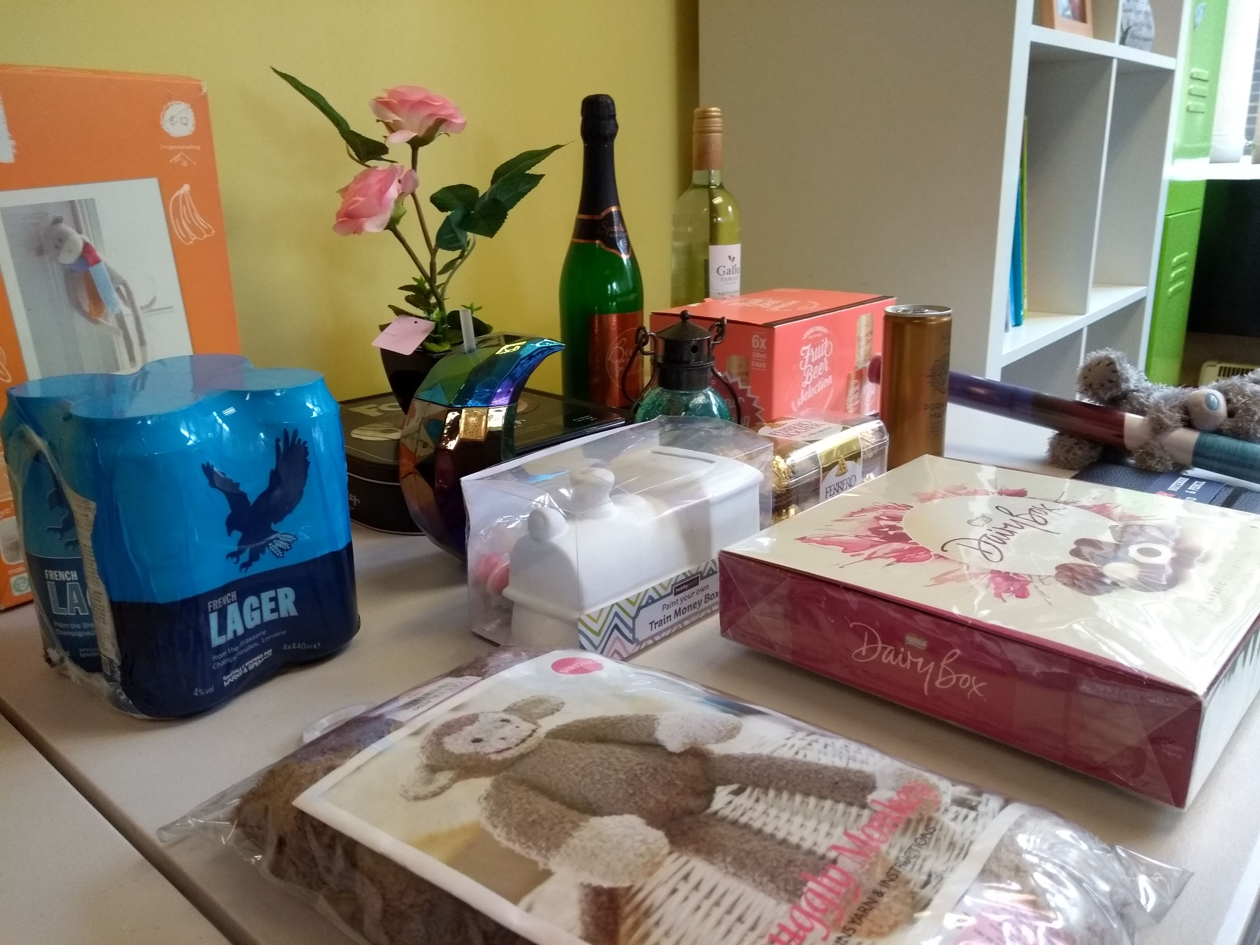 the many prizes for our special bingo day this Carers Week 2019, including M&S beers, cocktails, wine, chocolates, and crafts stuff + more!