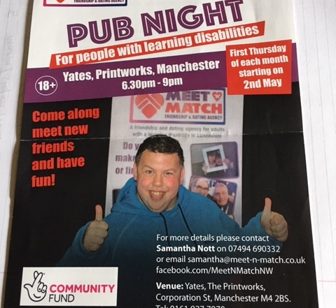Poster for the Pub Night for people with learning disabilities in Manchester, showing a photo of a happy patron and details of the event in words