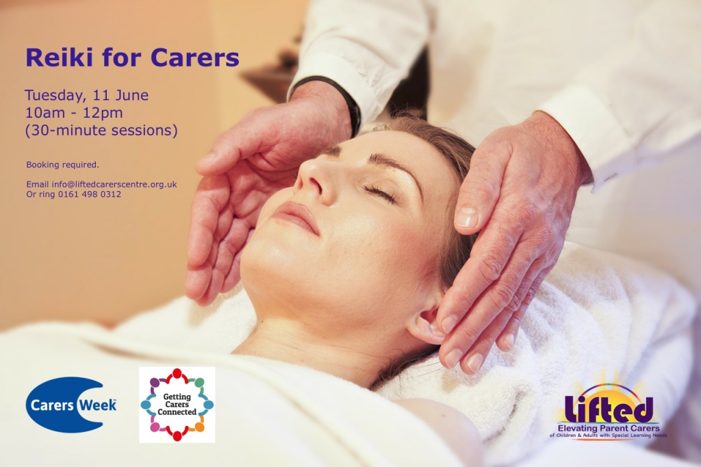 """Poster for Lifted's """"Reiki for Carers"""" event for Carers Week 2018 