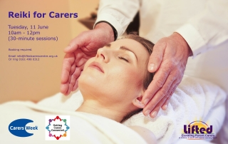 "Poster for Lifted's ""Reiki for Carers"" event for Carers Week 2018 