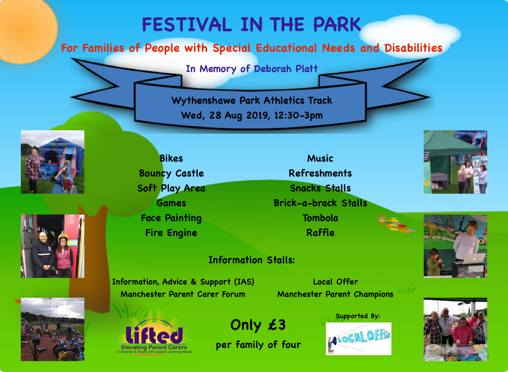 Festival in the Park 2019 poster showing an illustration of a park in the background, details of the event and Lifted's & Local Offer's logos on the foreground, and photos from last year's event