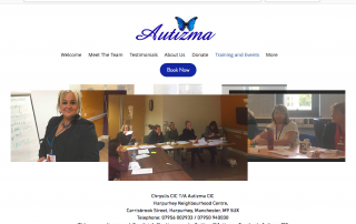 screenshot of Autizma's website events page