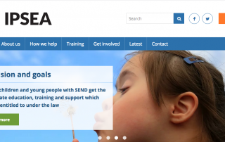screenshot of the IPSEA website's homepage, showing some text, IPSEA's logo and a photo of a girl blowing a dandelion