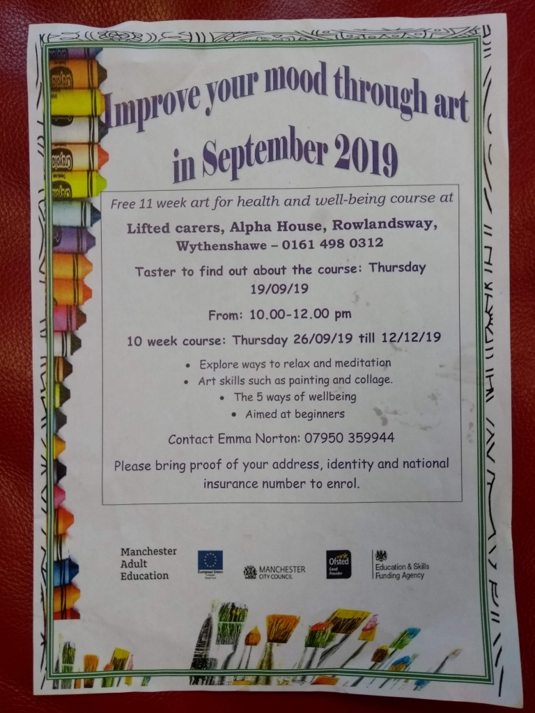 """Flyer for the """"Improve Your Mood Through Art"""" course, containing details in text plus the logos of Manchester Adult Education, European Union, Manchester City Council, Ofsted, Education & Skills Funding Agency"""