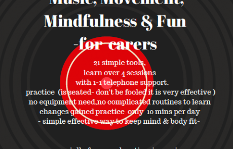 "Flyer for ""Music, Mindfulness & Fun"" carers training programme, with details of the course and logos of Lifted, Manchester Carers Network and Ageless Grace UK"