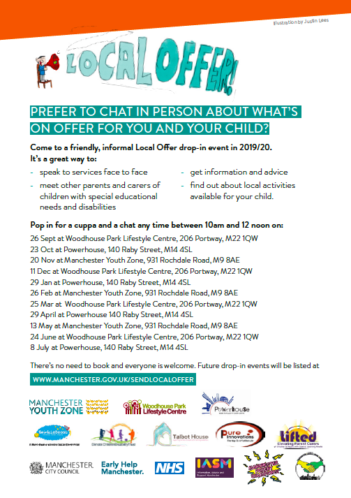 Page 2 of the SEND Local Offer Leaflet showing drop-in dates for 2019/2020 and logos of participating organisations