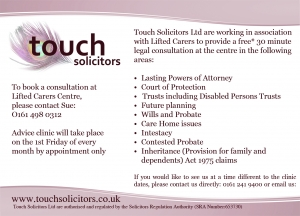 details of the monthly free legal consultations with Touch Solicitors at Lifted carers' centre, including Touch Solicitors Ltd's logo