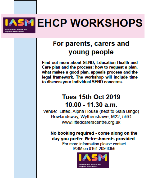 Amended version of IAS Manchester's EHCP Workshops 2019 flyer, showing only the details of the workshop in Lifted + IASM's logo