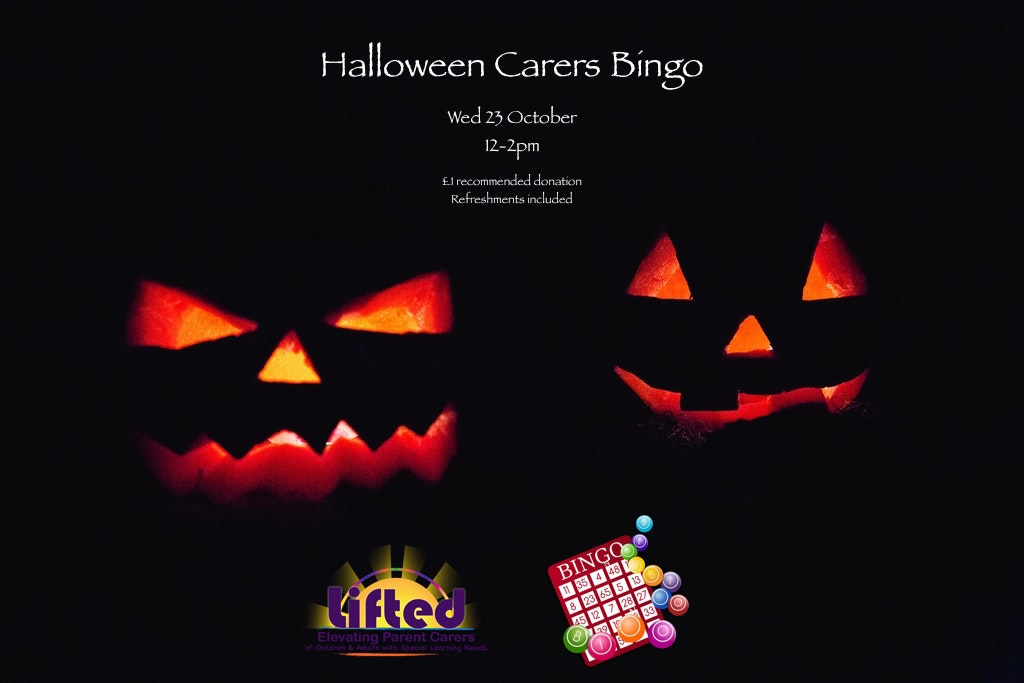Two glowing pumpkins in a very dark background; includes details of the carers bingo event + Lifted's logo + an illustration of a bingo card and balls | image credits: pexels.com, pixabay.com