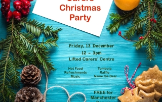 Details of the Christmas Party @ Lifted Carers Centre in 2019 | background image shows Christmas-y stuff such as pine cones, hollies, cookies | image source: pexels.com