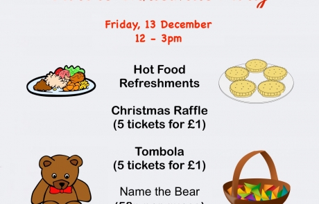 Details of the Christmas Party @ Lifted Carers' Centre in 2019 | Shows illustrations of food, a teddy bear, raffle basket, and buntings + photo of pine cones | main image source: pexels.com | illustration sources: clker.com, openclipart.org