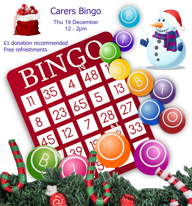 Poster for Lifted Carers' Christmas Bingo 2019 | background image: bingo card and balls; foreground images: santa's bag, snowman, candy canes | original images from pixabay.com and pexels.com