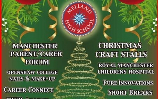 Flyer for Melland High School's Information Day & Christmas Fair 2019, showing event details and Christmas decorations