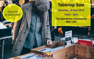 event details for Lifted's Tabletop Sale at The Dandelion Community Centre | background image: a man sifting through a box of prints