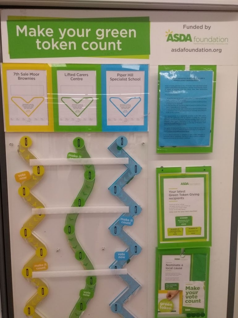 the latest nominees for Asda Wythenshawe's Green Token programme (January 2020), including Lifted