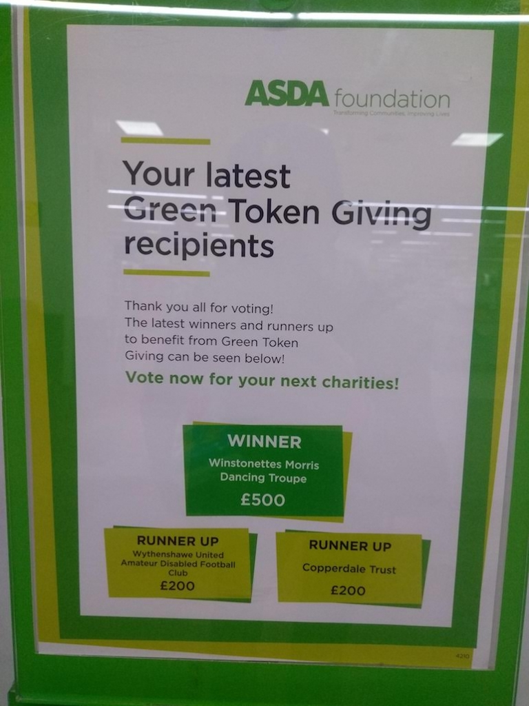 the latest recipients of Asda Wythenshawe's Green Token programme (December 2019)