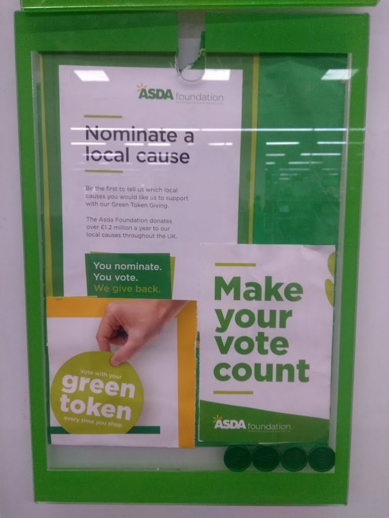 information about Asda Foundation's Green Token programme, as posted in Asda Wythenshawe