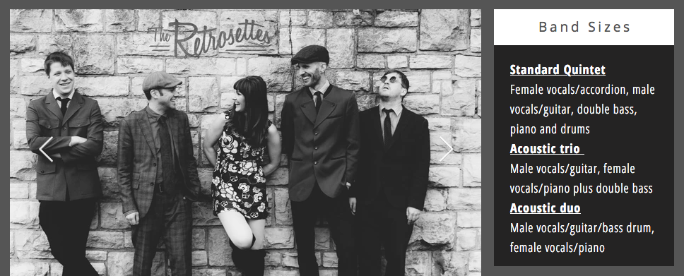 Screenshot from The Retrosettes' website showing the band stood against a wall in the background | credit: www.theretrosettes.com