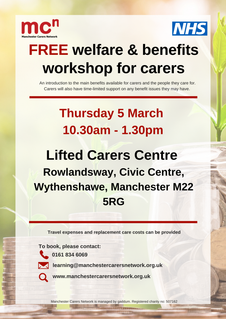 """""""FREE welfare & benefits workshop for carers""""   photo credit: Manchester Carers Network"""