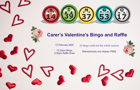 Flyer for Lifted Carers' Valentine's Event 2020 | background image: hearts wallpaper; foreground images: roses, bingo balls | original images from pixabay.com and pexels.com