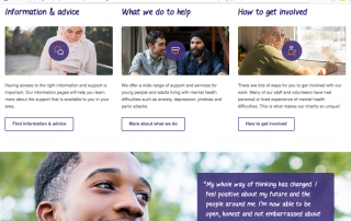 Screenshot of Self Help Services' website homepage showing photos of people and information about their mental health support services