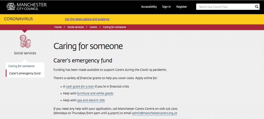 Screenshot of the Carer's Emergency Fund page on Manchester City Council's website